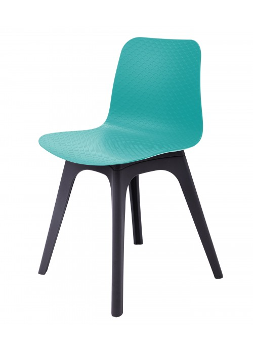 Hebe Series Turquoise Dining Shell Side Chair Molded Plastic Black Legs