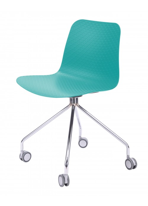 Hebe Series Turquoise Office Chair Molded Plastic Designer Task Chair