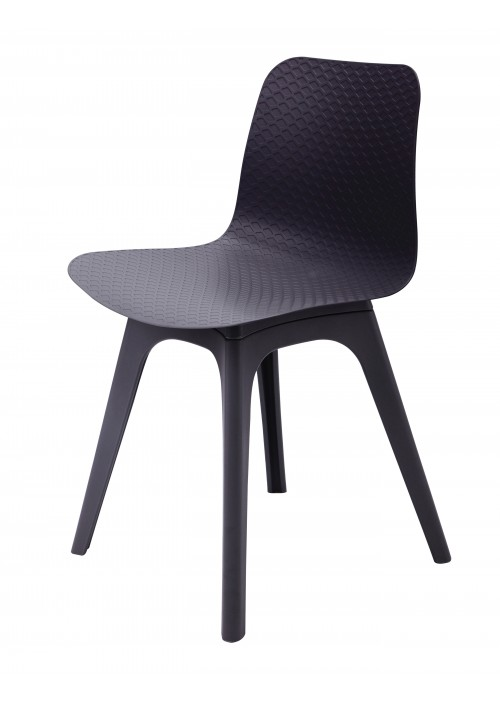 Hebe Series Black Dining Shell Side Chair Molded Plastic Black Legs