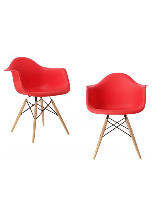 Set of 2 DAW Molded Red Plastic Dining Armchair with Wood Eiffel Legs
