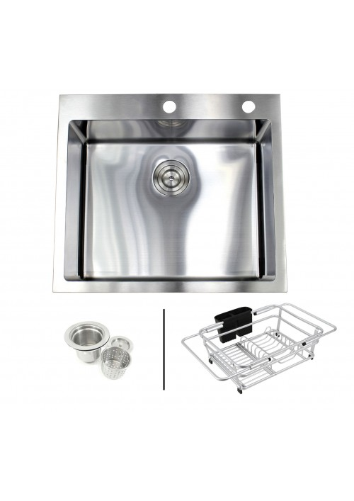 25 in. x 22 in. x 10 in. Premium 16-Gauge Stainless Steel Topmount Drop-In Single Bowl Kitchen Sink in Brushed Stainless Steel Finish with Expandable Dish Rack and Strainer