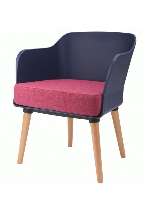 Cali Modern Accent Armchair Dark Blue with Pink Cushion