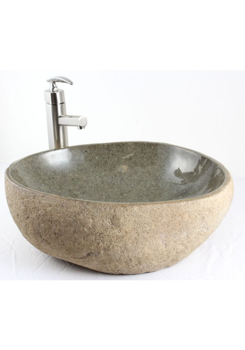 Natural River Rock Stone Bathroom Lavatory Vessel Sink - 19 x 16 x 6-1/4 Inch