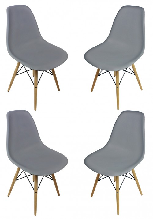 Set of 4 DSW Gray Plastic Dining Shell Chair with Wood Eiffel Legs