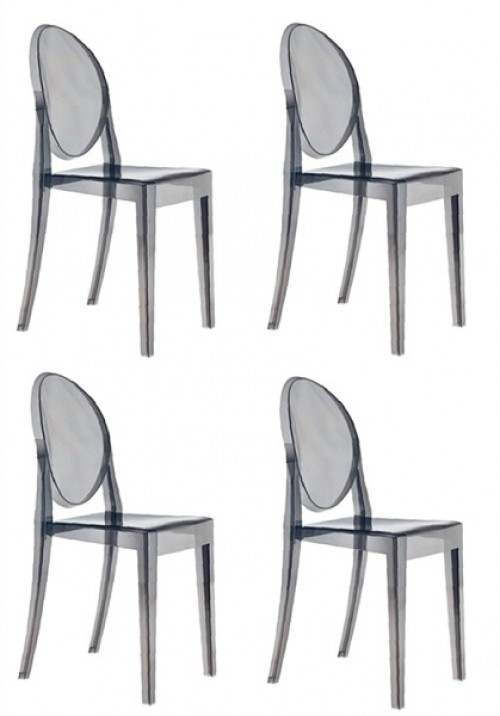 Set of 4 Victoria Style Ghost Dining Chair Smoke Color