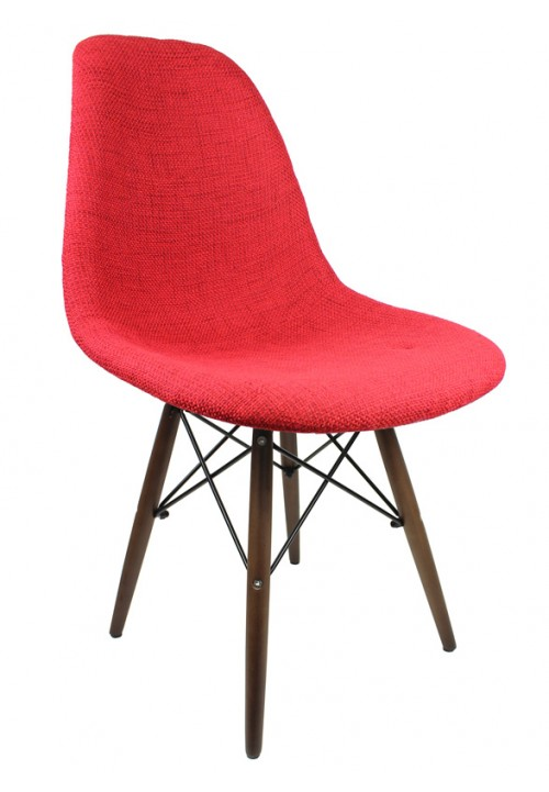 Red Fabric Upholstered Accent Chair with Dark Walnut Wood Eiffel Legs