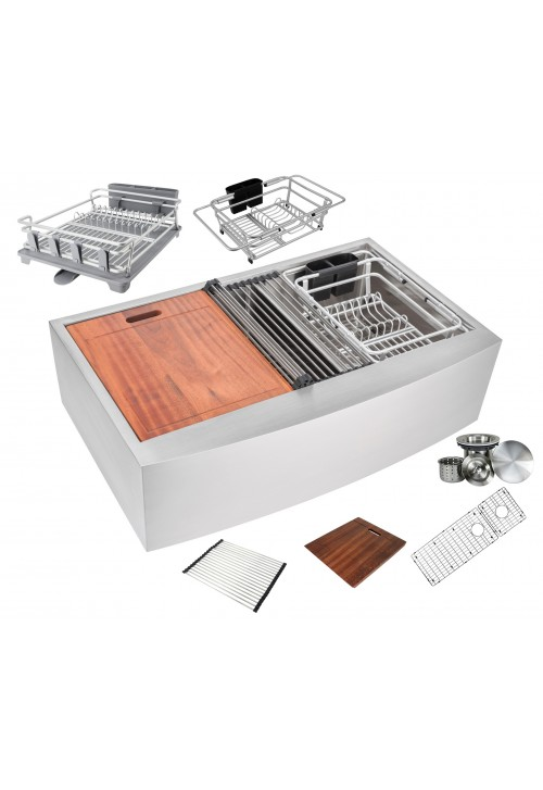 Enthous Workstation 36 Inch Farmhouse Apron 16 Gauge Double Bowl Stainless Steel Kitchen Sink w/ Integrated Ledge, 15mm Tight Radius, Premium Accessories – Dish Rack, Colander, Cutting-board, Grid