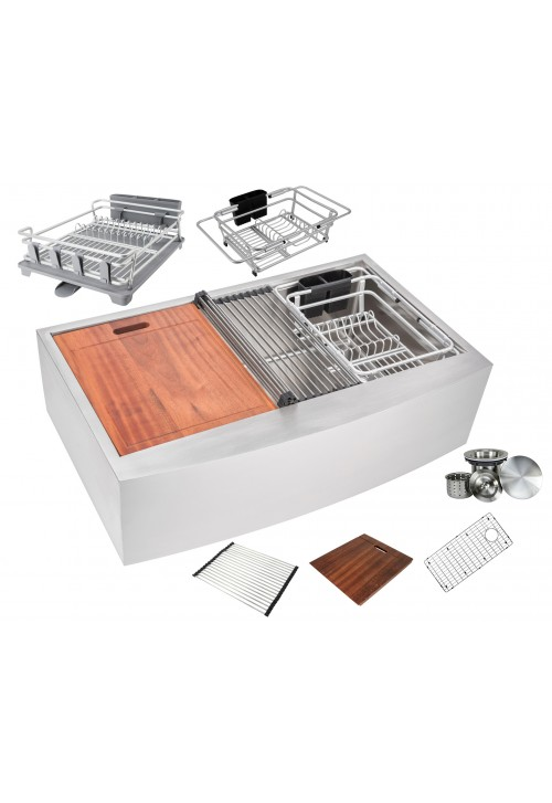 Enthous Workstation 36 Inch Farmhouse Apron 16 Gauge Single Bowl Stainless Steel Kitchen Sink w/ Integrated Ledge, 15mm Tight Radius, Premium Accessories – Dish Rack, Colander, Cutting-board, Grid