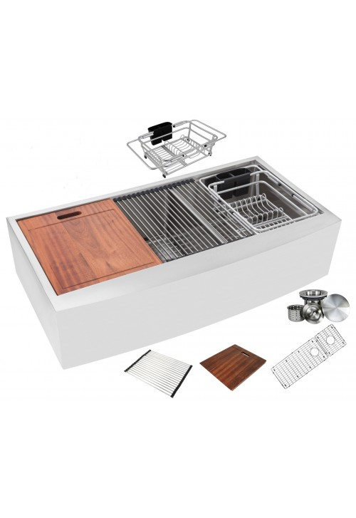 Enthous Workstation 42 Inch Farmhouse Apron 16 Gauge Double Bowl Stainless Steel Kitchen Sink w/ Integrated Ledge, 15mm Tight Radius, Premium Accessories – Dish Rack, Colander, Cutting-board, Grid