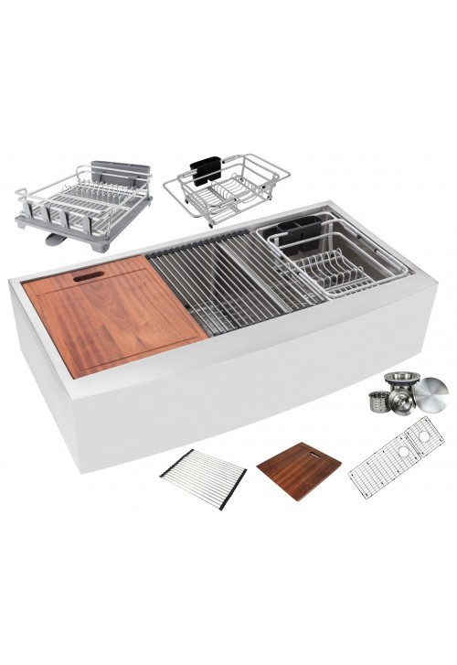 Ariel Enthous Workstation 42 Inch Farmhouse Apron 16 Gauge Double Bowl Stainless Steel Kitchen Sink w/ Integrated Ledge, 15mm Tight Radius, Premium Accessories – Dish Rack, Colander, Cutting-board, Grid