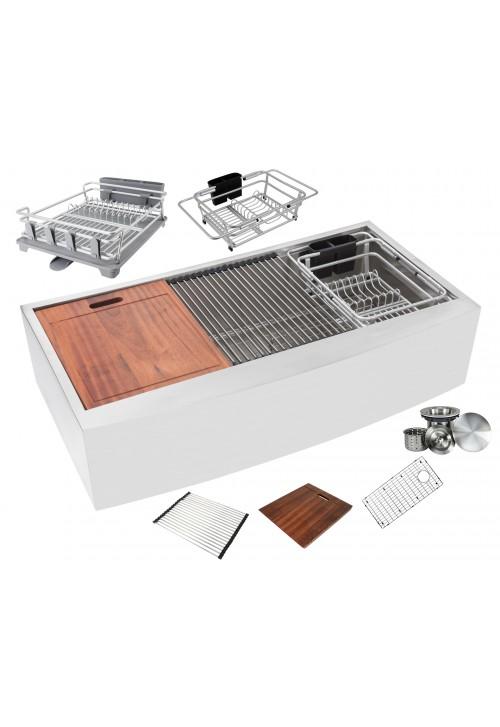 Ariel Enthous Workstation 42 Inch Farmhouse Apron 16 Gauge Single Bowl Stainless Steel Kitchen Sink w/ Integrated Ledge, 15mm Tight Radius, Premium Accessories – Dish Rack, Colander, Cutting-board, Grid