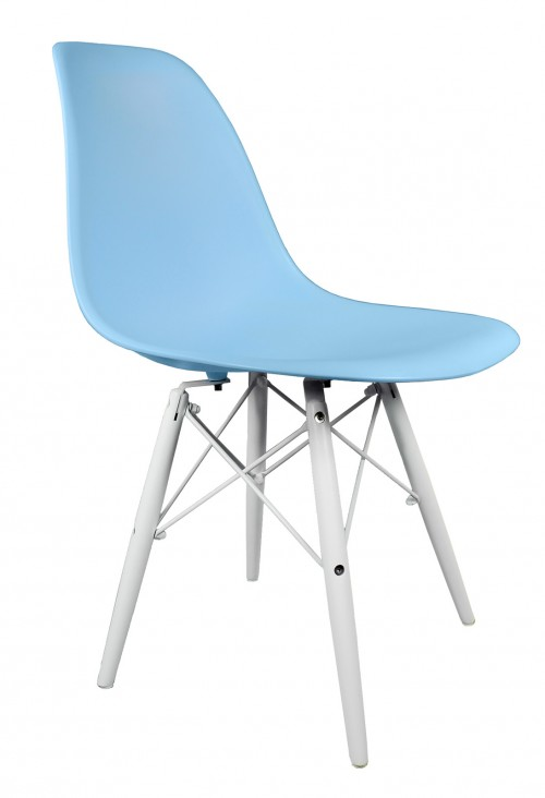 Light Blue DSW Molded Plastic Dining Shell Chair with White Wood Eiffel Legs