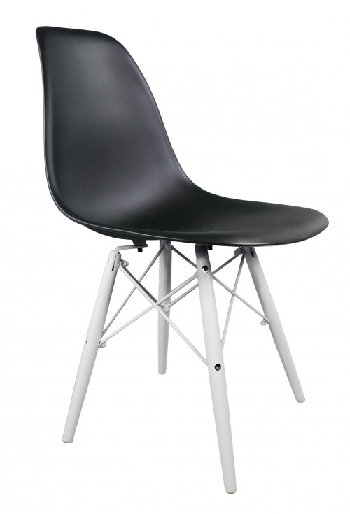 Black DSW Molded Plastic Dining Shell Chair with White Wood Eiffel Legs
