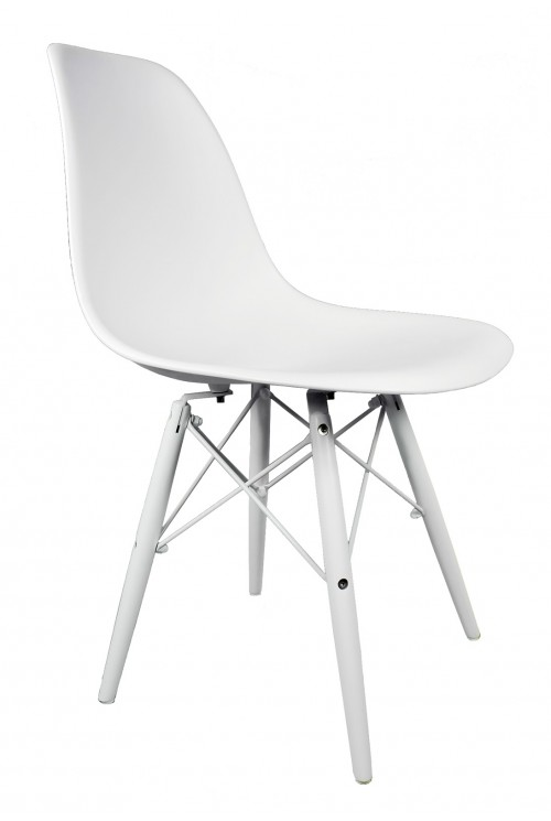 DSW Molded White Plastic Dining Shell Chair with White Wood Eiffel Legs