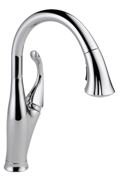 Delta Addison Lead Free Single Handle Pull Out Kitchen Faucet Featuring Touch2O Technology