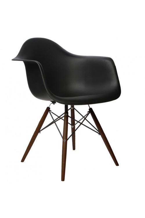 DAW Molded Black Plastic Dining Armchair with Dark Walnut Wood Eiffel Legs