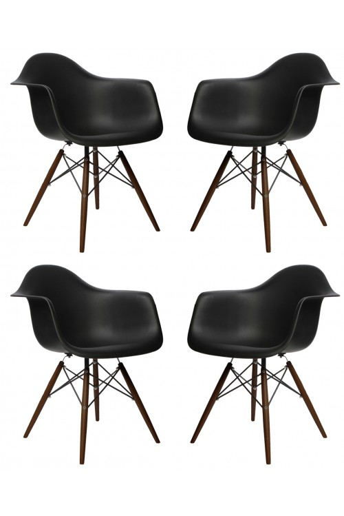 Set of 4 DAW Molded Black Plastic Dining Armchair with Dark Walnut Wood Eiffel Legs