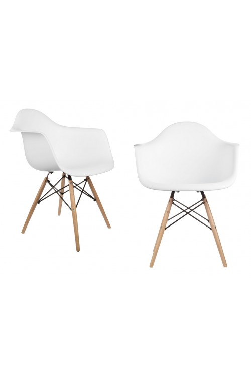 Set of 2 DAW Molded White Plastic Dining Armchair with Wood Eiffel Legs