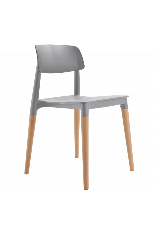 Bel Gray Dining Bistro Cafe Modern Minimalist Side Chair