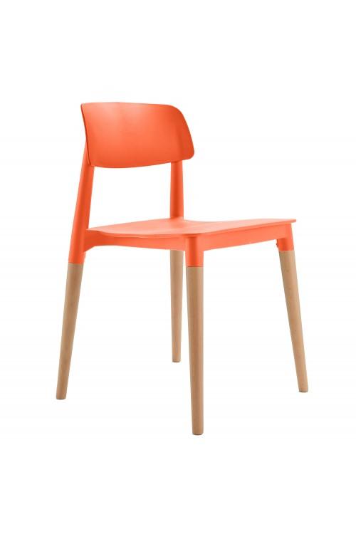 Bel Orange Dining Bistro Cafe Modern Minimalist Side Chair
