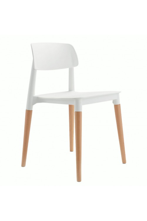 Bel White Dining Bistro Cafe Modern Minimalist Side Chair