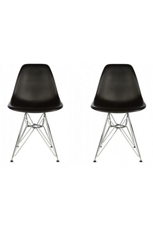 Set of 2 DSR Molded Black Plastic Dining Shell Chair with Steel Eiffel Legs