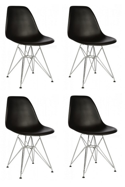 Set of 4 DSR Molded Black Plastic Dining Shell Chair with Steel Eiffel Legs