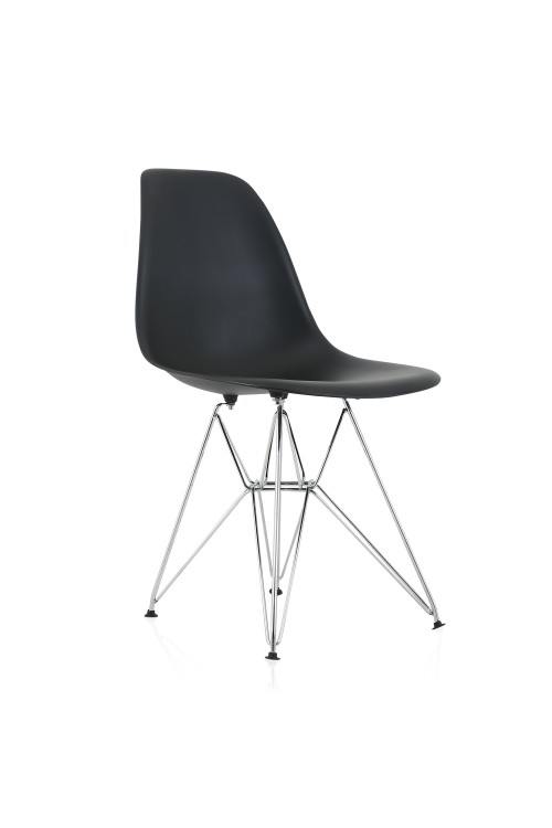 DSR Molded Black Plastic Dining Shell Chair with Steel Eiffel Legs