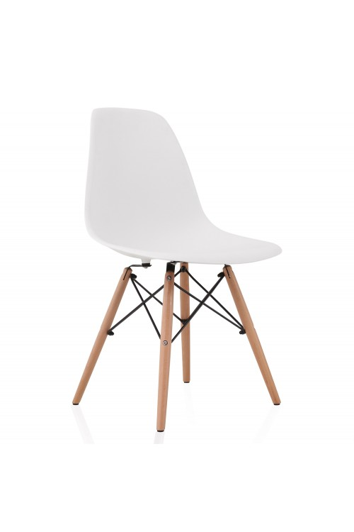 DSW Molded White Plastic Dining Shell Chair with Wood Eiffel Legs