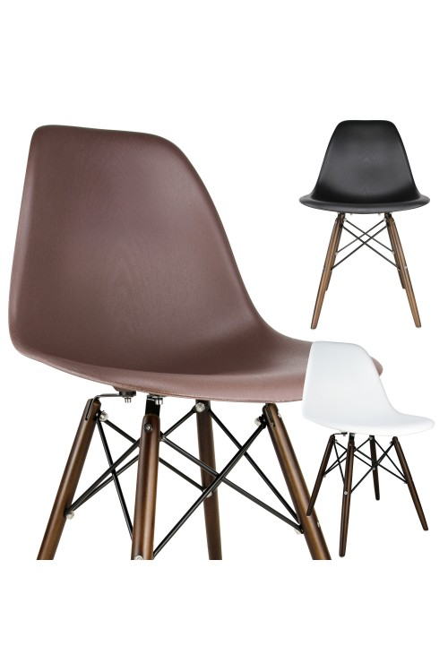 Nature Series Wood Grain DSW Molded Plastic Dining Side Chair with Dark Walnut Wood Eiffel Legs