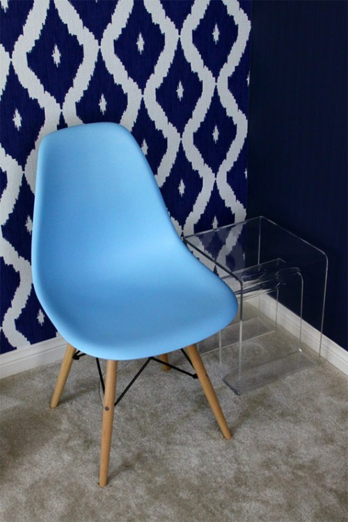 DSW Molded Light Blue Plastic Dining Shell Chair with Wood Eiffel Legs