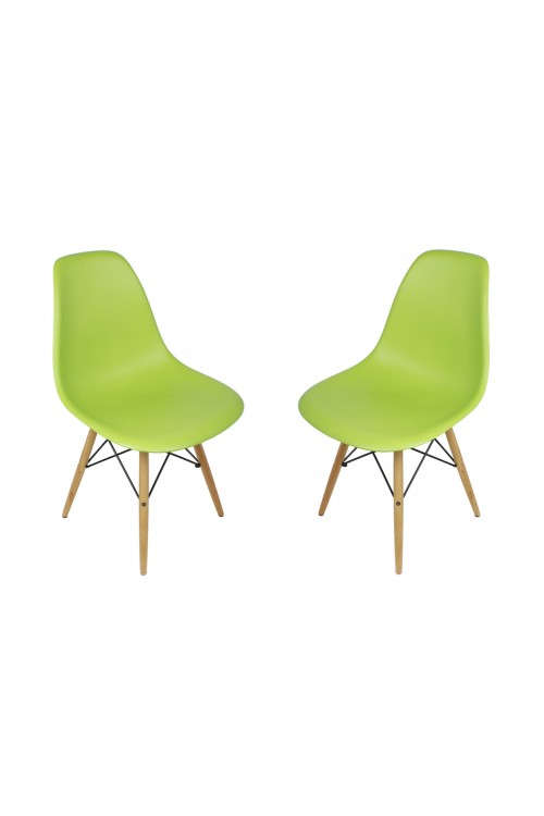 Set of 2 DSW Molded Lime Green Plastic Dining Shell Chair with Wood Eiffel Legs