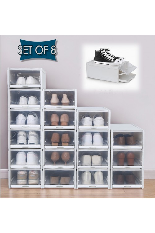 CozyBlock Stackable Shoe Box, Clear Shoe Storage Box, Shoe Drawer, Smart Pull-out Sliding Shoe Container, Sneakers Display Organizer (Set of 8)