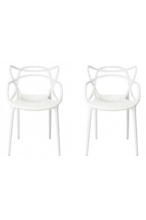 Set of 2 Modern Masters Designer Dining Chair In White