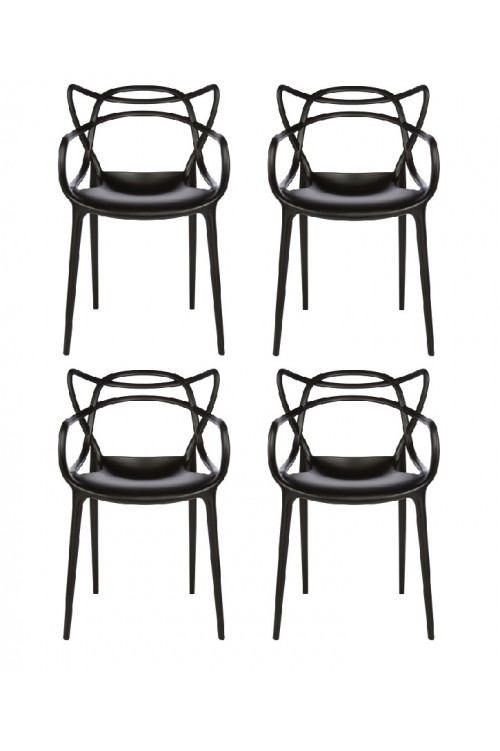 Set of 4 Modern Masters Designer Dining Chair In Black