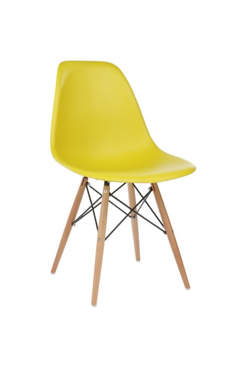 DSW Molded Dark Yellow Plastic Dining Shell Chair with Wood Eiffel Legs