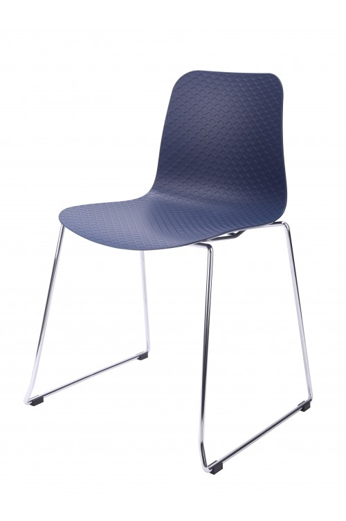 Hebe Series Navy Dining Shell Side Chair Molded Plastic Steel Metal Legs