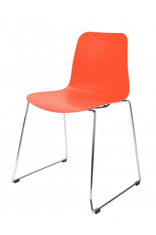 Hebe Series Orange Dining Shell Side Chair Molded Plastic Steel Metal Legs