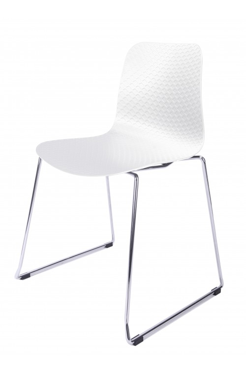 Hebe Series White Dining Shell Side Chair Molded Plastic Steel Metal Legs