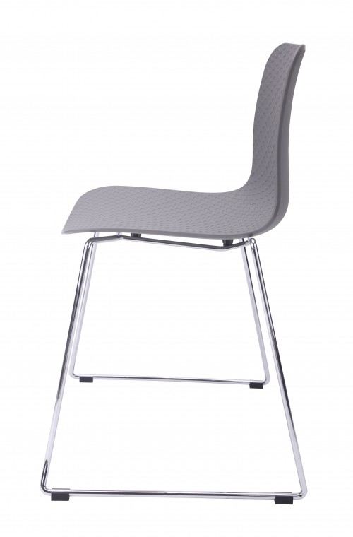 Hebe Series Gray Dining Shell Side Chair Molded Plastic Steel Metal Legs