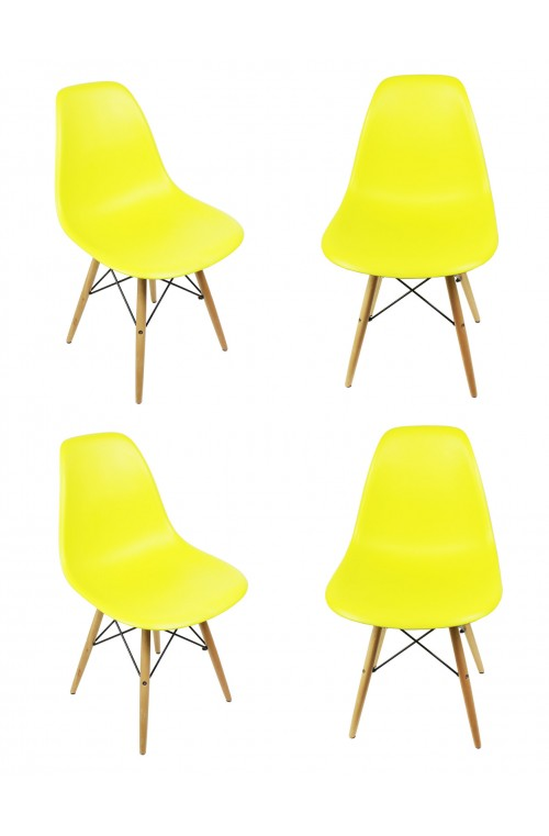 Set of 4 DSW Molded Light Yellow Plastic Dining Shell Chair with Wood Eiffel Legs