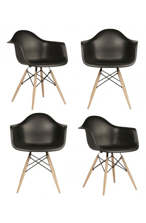Set of 4 DAW Molded Black Plastic Dining Armchair with Wood Eiffel Legs