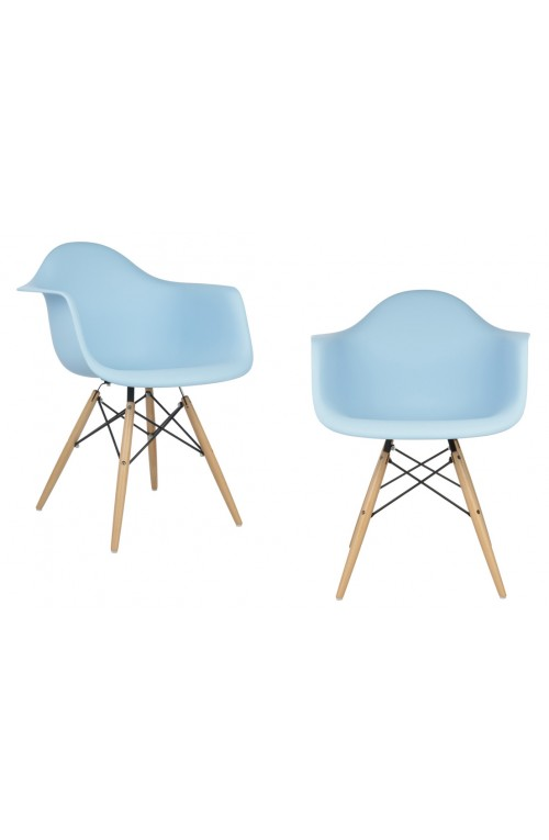 Set of 2 DAW Molded Light Blue Plastic Dining Armchair with Wood Eiffel Legs