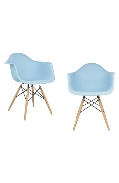 Set of 2 DAW Molded Light Blue Plastic Dining Armchair with Wood Eiffel Legs