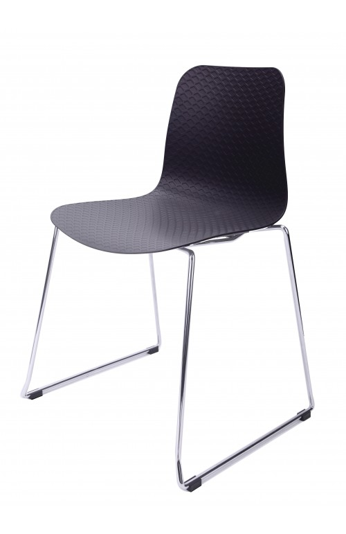 Hebe Series Black Dining Shell Side Chair Molded Plastic Steel Metal Legs