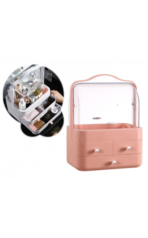 CozyBlock Small Makeup Container Storage Box in Pink, Cosmetic Display Showcase, Dustproof Makeup Organizer, Enclosed Cosmetic Protective Storage Drawer, Jewelry and Makeup Caddy Shelf Capsule w/ Handle