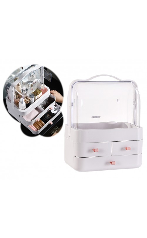 CozyBlock Small Makeup Container Storage Box in White, Cosmetic Display Showcase, Dustproof Makeup Organizer, Enclosed Cosmetic Protective Storage Drawer, Jewelry and Makeup Caddy Shelf Capsule w/ Handle