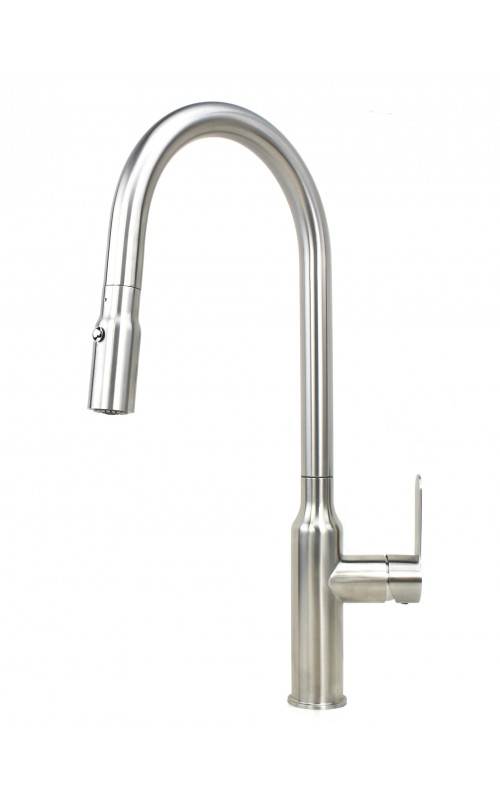 Ariel Flute Stainless Steel Lead Free Single Handle Pull Out Nozzle Sprayer Kitchen Faucet