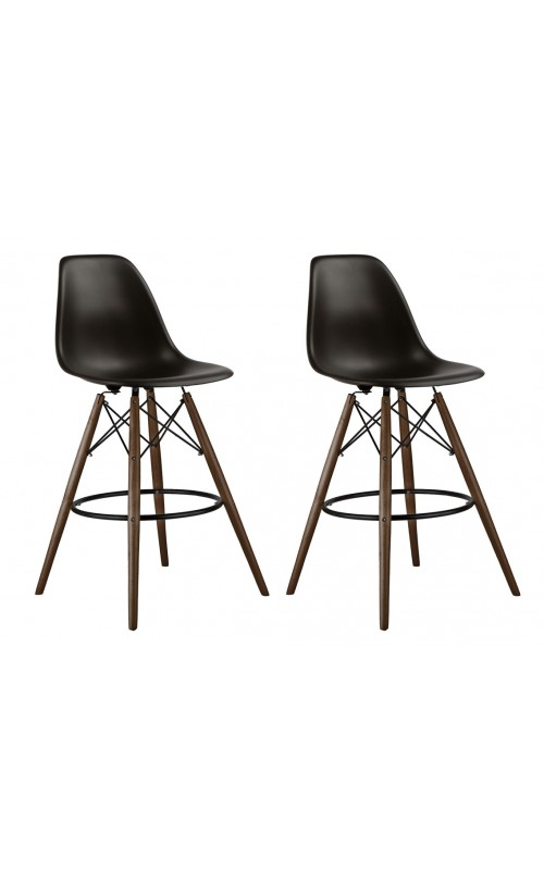 Set of 2 Black DSW 26 Inch Counter Stool with Dark Walnut Wood Eiffel Legs