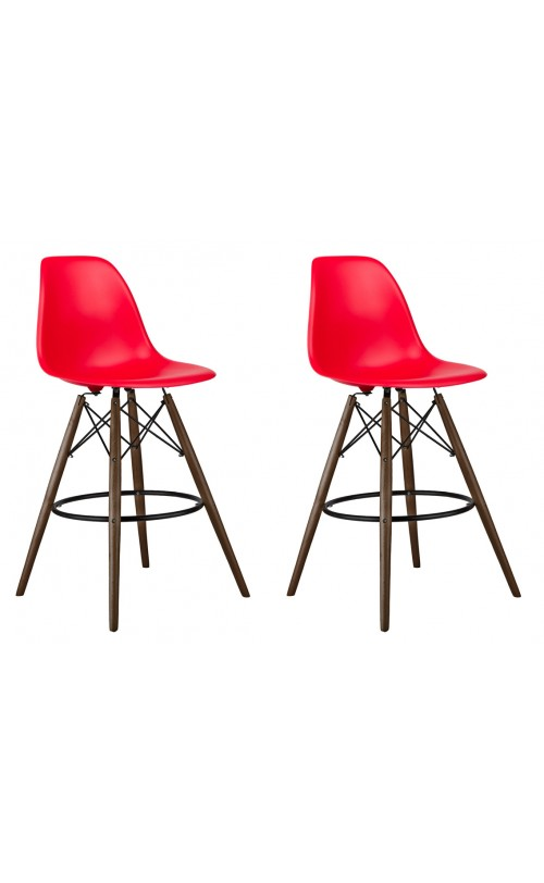 Set of 2 Red DSW 26 Inch Counter Stool with Dark Walnut Wood Eiffel Legs